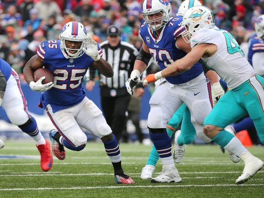 Bills running back LeSean McCoy goes over 10,000 yards for his career on this run against the Dolphins.