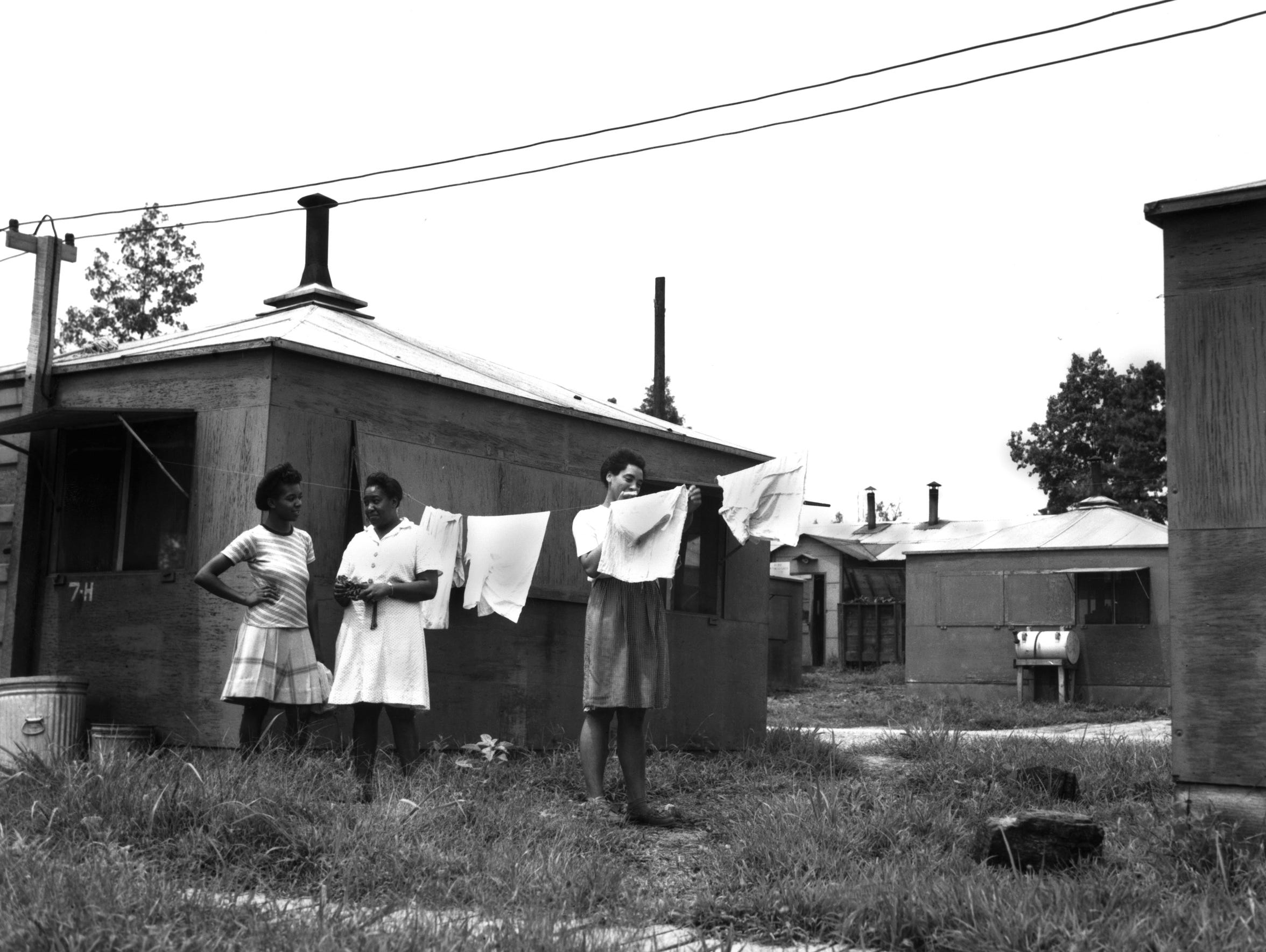 A 1947 Ed Westcott photo shows the women's hutment