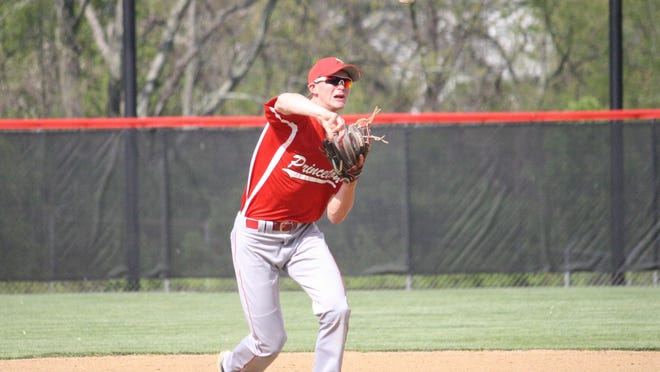 Princeton junior shortstop Aaron Levy makes a throw to first at Oak Hills last season.