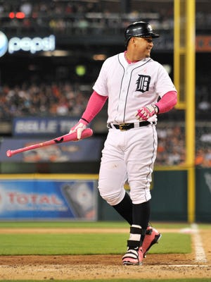 The Tigers' Miguel Cabrera is called out but still manages a smile during a game against the Royals earlier this month.