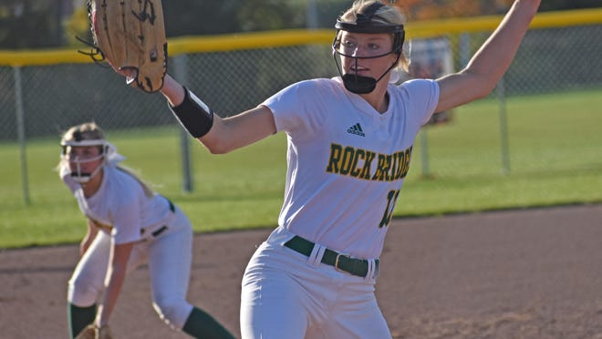 Rock Bridge ace Ella Schouten delivers the ball during a complete-game sectional victory against Holt last season in Wentzville.