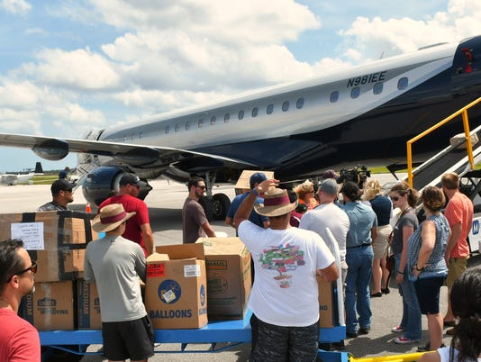 Jet loaded with supplies for Puerto Rico