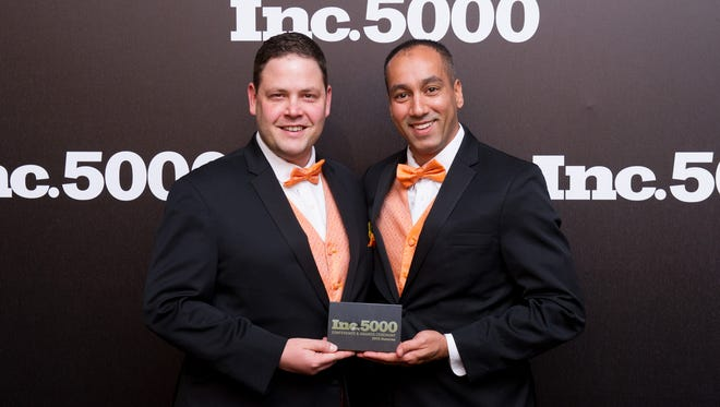 Inspiria Media Vice President and CMO Nick Simard (left) with President and CEO Ronnie Ram