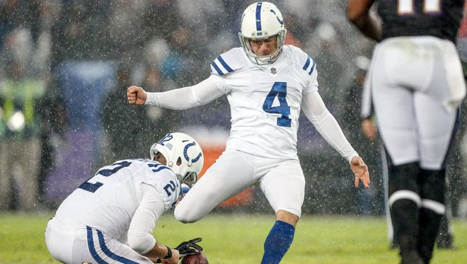Indianapolis Colts kicker Adam Vinatieri (4) connects on a 40 yard field goal against the Baltimore Ravens in the third quarter at M&T Bank Stadium in Baltimore on Saturday, Dec. 23, 2017.