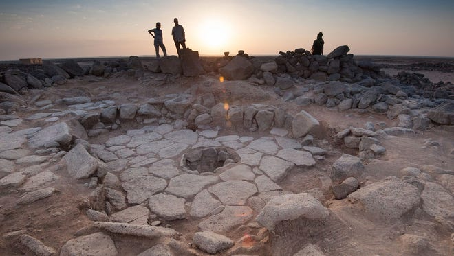 One of the stone structures of the 'Shubayqa 1' site in Jordan. The fireplace, where the bread was found, is in the middle.