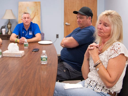 Denise Streahle of Magnolia is surrounded by her sister, Sharon and her husband Eric Wenner of Mount Laurel, and Denise's brother Frank Chisholm of Somerdale. Denise said her husband's sudden death following a heart attack left her feeling lost.