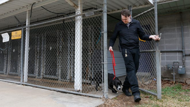 Joshua Doss, shelter coordinator with Animal Control, leads a dog, who they registered as #21682, out of the shelter to the van where he will be taken to C.A.R.E. on Wednesday, Feb. 24, 2016.