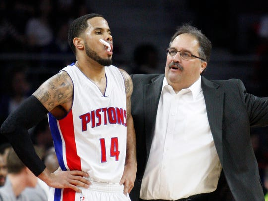 Feb 6, 2015; Detroit Pistons head coach Stan Van Gundy talks to guard D.J. Augustin (14) during the third quarter against the Denver Nuggets at The Palace of Auburn Hills.