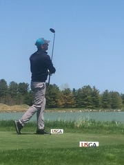 Ben Bendtsen III tees off on the 18th hole during U.S.