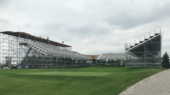 The grandstands surrounding the first hole at Liberty National are nearly complete in advance of the Presidents Cup, which is less than 60 days away.