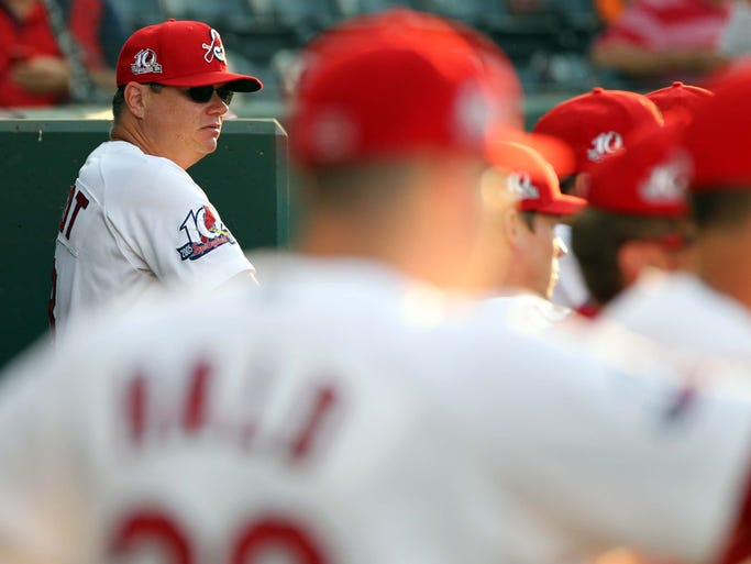 Springfield Cardinals manager Mike Shildt waches action from the dugout against the Tulsa Drillers at Hammons Field on July 23, 2014.