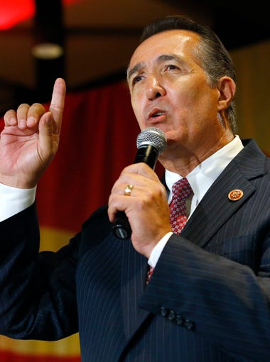 Congressman Trent Franks talks at the Republican election night party at the Hyatt Hotel Tuesday, Nov. 4, 2014 in Phoenix, Ariz.