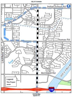 A 2.5-mile corridor heading northbound on Dysart Road between Interstate 10 and Indian School Road in Avondale will see lane closures starting on Dec. 8 for improvements to traffic lights system.