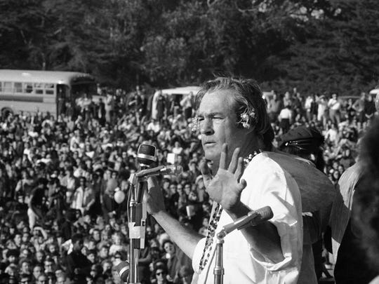 Timothy Leary addresses a crowd of hippies at the 'Human Be-In' that he helped organize in Golden Gate Park, San Francisco, Calif., Jan. 14, 1967. Leary told the crowd to 'Turn on, Tune in and Drop out'. The event was a prelude to the 'Summer of Love', which brought the hippie experience into the American mainstream