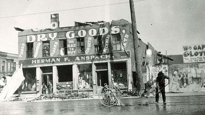 This photograph shows the damage resulting from a fire at the Herman Anspach Department Store on Sept. 19, 1910. The building, which stood on the northeast corner of Wisconsin Avenue and Commercial Street in Neenah, was built in 1855.