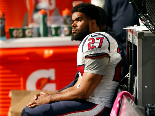 Houston Texans strong safety Quintin Demps sits on the bench during the second half of an NFL football game against the Minnesota Vikings, Sunday, Oct. 9, 2016, in Minneapolis. (AP Photo/Jim Mone)