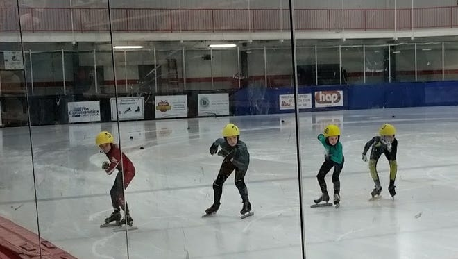Central Wisconsin Speed Skating Club members line up for a race in De Pere on Sunday, March 5, 2017.