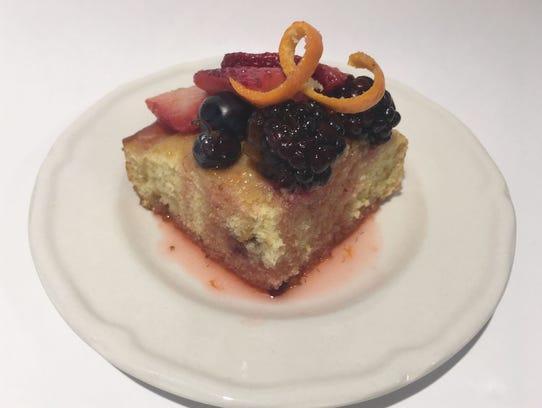 Triple berry hot milk sponge cake