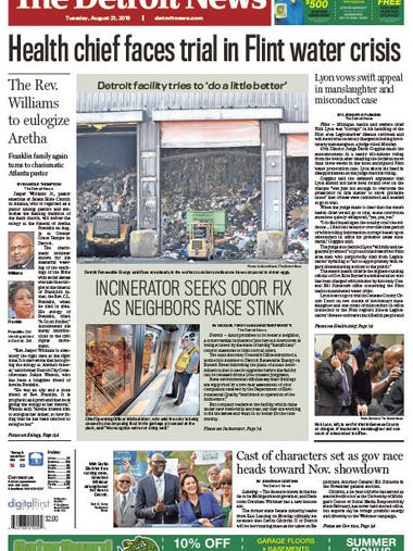 The front page of The Detroit News on Tuesday, August