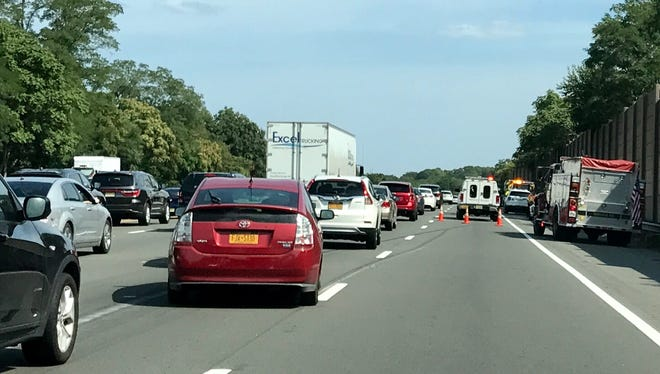 A multivehicle crash blocks the right lane of Route 80 eastbound in Denville on Aug. 27.