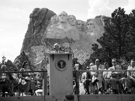 President Dwight D. Eisenhower speaks at Mount Rushmore in June 1953.