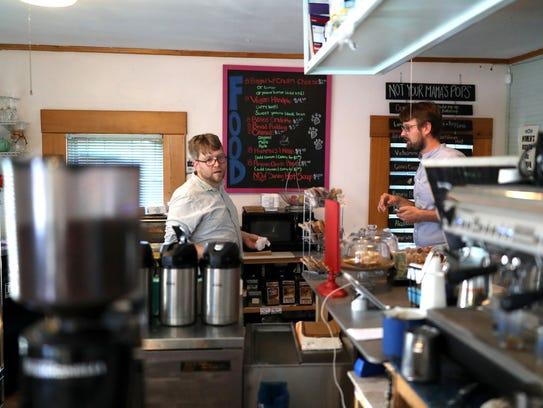 Emile Boghos of Black Dog Cafe works behind the counter