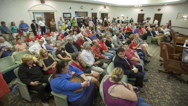 City Hall was packed Aug. 17, 2015, as the Carmel City Council discussed a proposed anti-discrimination ordinance aimed at protecting LGBT rights.