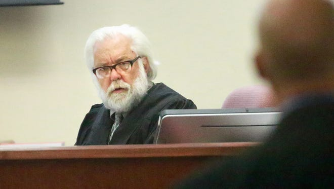 Judge John Dean presides over a July 2016 trial in the 11th Judicial District Court in Aztec.