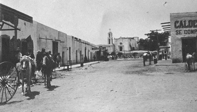 A scene from Juarez in 1895. Our Lady of Guadalupe Cathedral is visible in the background.