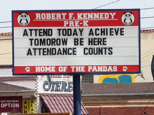 Sign outside the Robert F. Kennedy Pre-K Center at