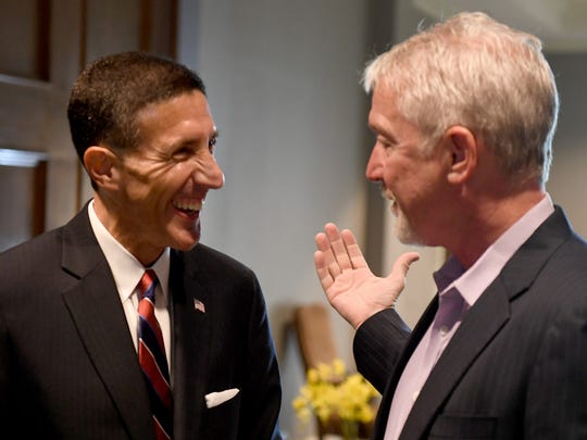 Rep. David Kustoff (TN-08) talks with Jackson Chamber President and CEO Kyle Spurgeon before the start of his legislative update at The Jackson Country Club, Wednesday, Aug. 16, 2017.