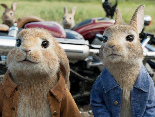 Benjamin, voiced by Colin Moody, left, and Peter Rabbit,