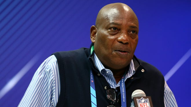 Baltimore Ravens general manager Ozzie Newsome speaks with media during the NFL Combine at the Indianapolis Convention Center.