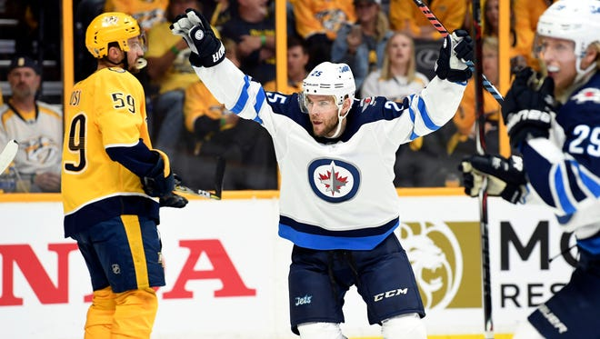 Winnipeg Jets center Paul Stastny (25) celebrates after a goal during the first period against the Nashville Predators in Game 7.