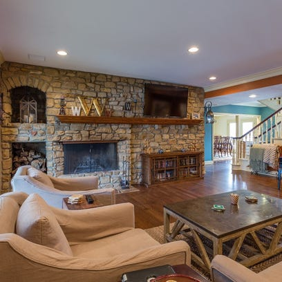 The open flow of the large living/family room on the