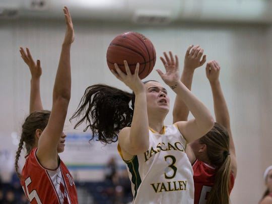 Pascack Valley's Kelly Smith drives to basket during