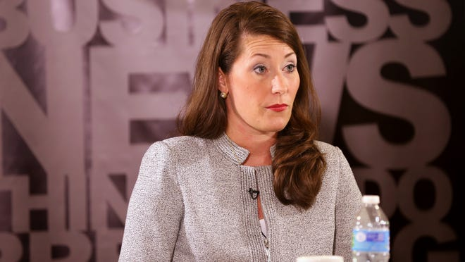 Alison Lundergan Grimes meets with the Enquirer's editorial board Oct. 14.