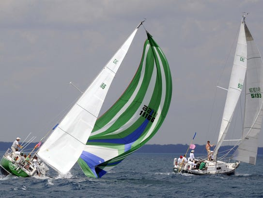 Shamrock, of Bayview Yacht Club, heels over and dips