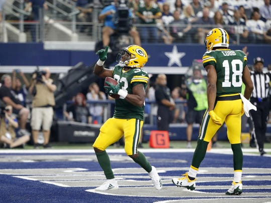 Aaron Jones, a fifth-round pick, has filled the void left at running back while Ty Montgomery has been out with broken ribs. Jones rushed for 125 yards and a touchdown against Dallas on Sunday.