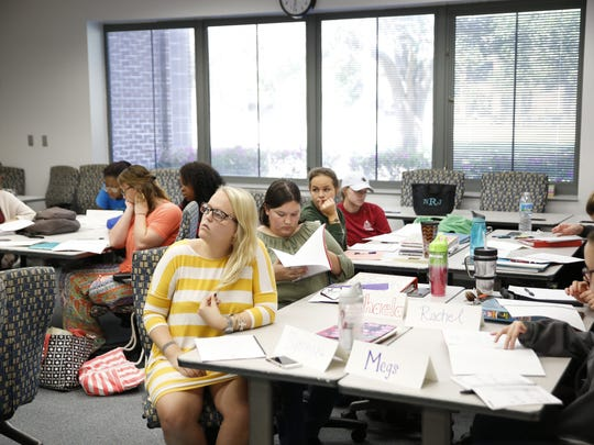 Students enrolled in Flagler College's Electronic Portfolio Development class on Tuesday at Tallahassee Community College's campus, where Flagler has a satellite campus.