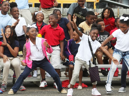 "Students dance to ""Watch Me (Whip/Nae Nae)"" at the end of a previous Fire Prevention Week event at Monroe Fire's training site."