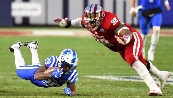 Hoosiers defensive lineman Darius Latham (98) will enter the 2016 NFL draft.