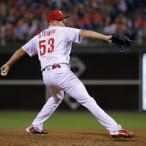 The Phillies' Daniel Stumpf throws a pitch in the eighth inning Thursday against the Miami Marlins. Stumpf was designated for assignment before Friday's game in Pittsburgh.