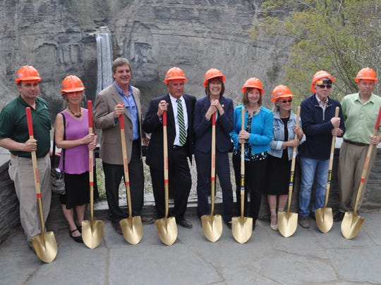 State Parks Commissioner Rose Harvey and several local