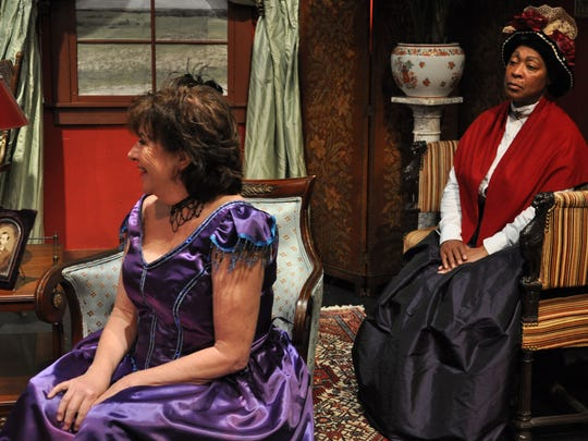 """Melissa Savage (left) and Anne V. Angelle (right) perform """"Jenny's House of Joy."""" The City Park Players comedy features an all female cast and will run Thursday through Sunday this weekend."""