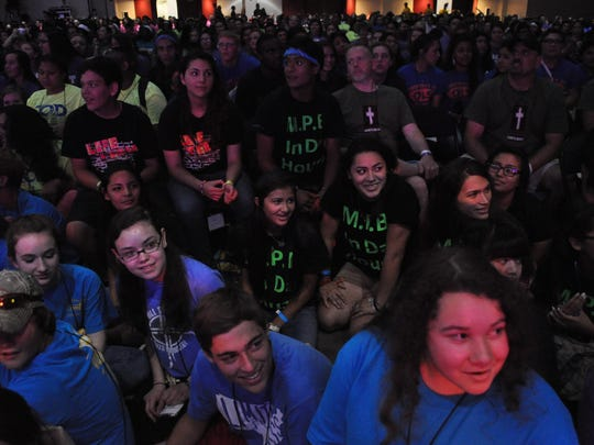 Thousands of youth gather Saturday afternoon for sessions of Steubenville South at the Alexandria Riverfront Center.