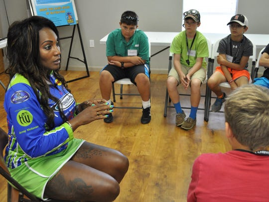 Torica Whitty, a professional tournament angler from Louisiana, talks to campers Wednesday at the Louisiana Department of Wildlife and Fisheries day camp.