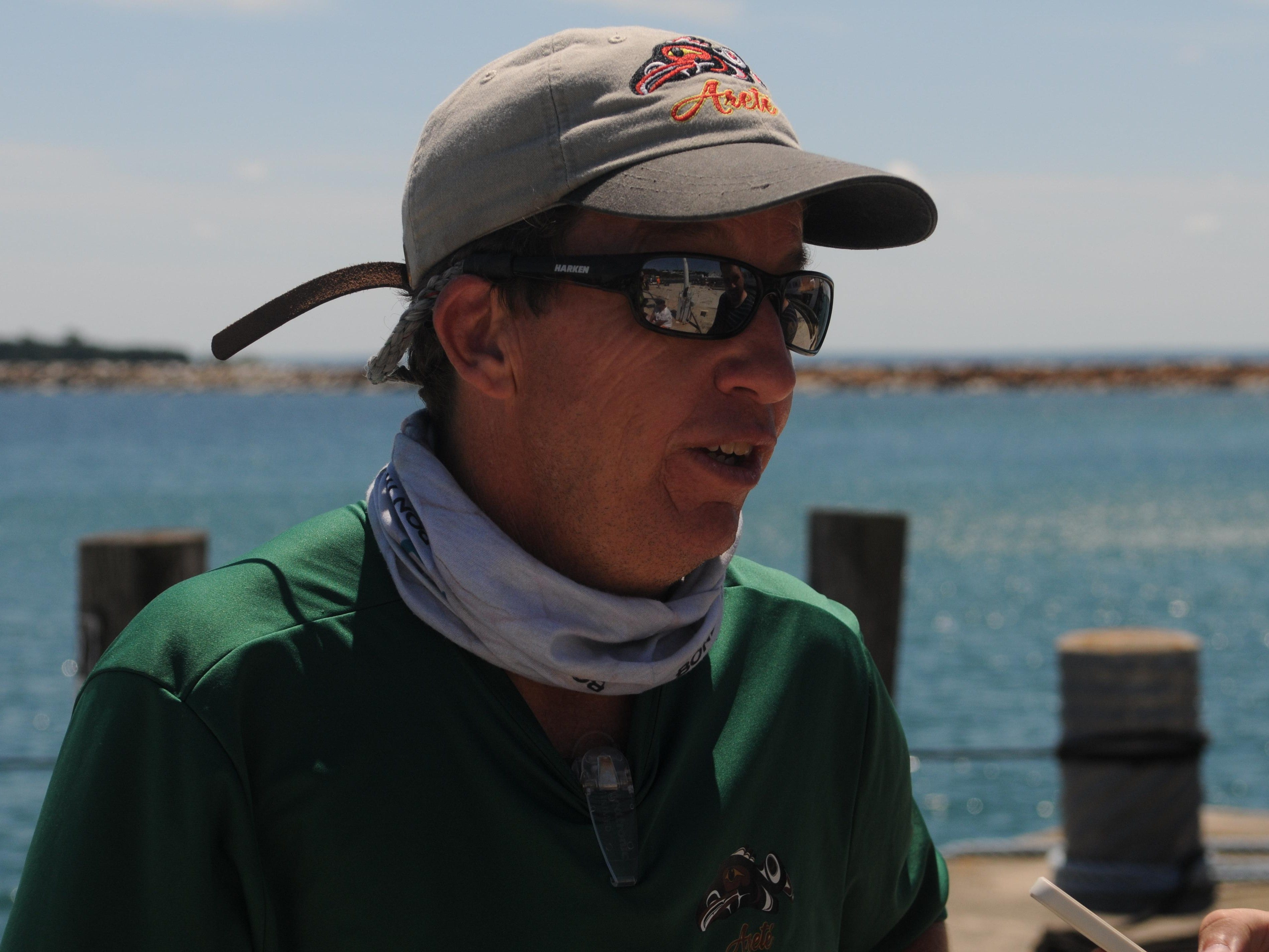 Mike McGarry of Palm Bay, Florida talks about the Port Huron-to-Mackinac Island Sailboat Race Sunday and being the first boat to the island.