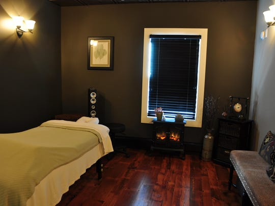 The tranquil Massage Room at Kula Yoga & Wellness in Stanhope.