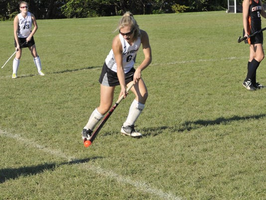 South Western's Lauren Stiff clears the ball from the Central York side of the field.